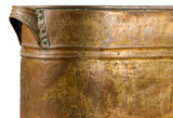 work detail on handle of antique copper pan poster