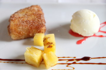 Fried milk Leche frita pinneaple and olive oil ice cream Spain