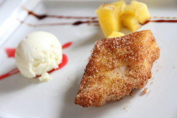 Fried milk Leche frita  pinneaple and olive oil ice cream