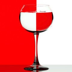 Wine glass on red and white