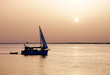 Recreation boat at sunset, in Ria Formosa, natural conservation