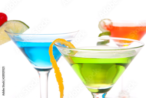 Martini Cocktails with tropical flavours
