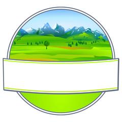 Etikett mit Landschaft