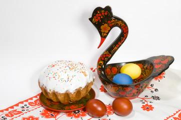 Easter eggs and cake with khokhloma housewares