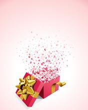 Ouvrir cadeau présente avec des coeurs de mouche vecteur de fond