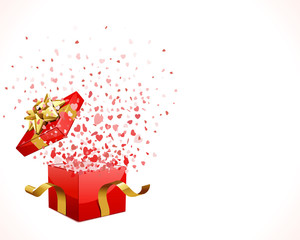 Open gift present with fly hearts vector background