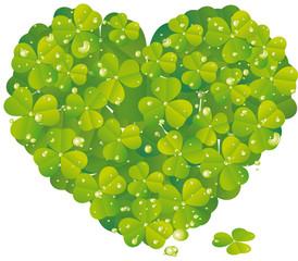 Glücksklee Herz mit Wassertropfen