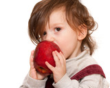 Longhaired toddler eating apple poster