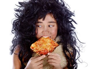 neanderthal eating a pizza