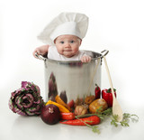 Fototapety Baby in a cooking pot