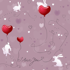 Texture Rabbits with Valentine hearts