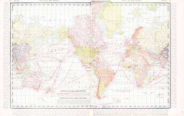 America Centric Antique Vintage Color World Map