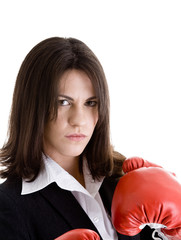 Glaring Angry Caucasian Woman Suit, Boxing Gloves Isolated White