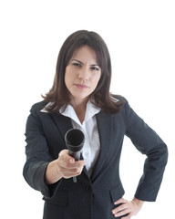 Skeptical Caucasian Woman Holding Microphone to Camera, Isolated