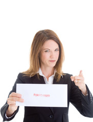 Angry Business Woman Pointing Finger Foreclosed Isolated White