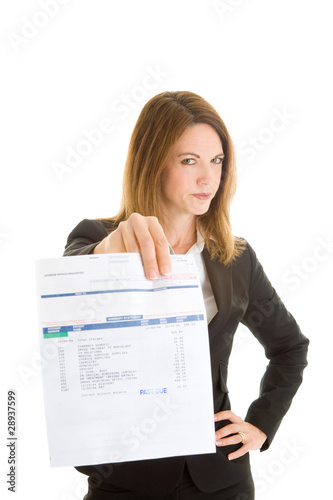 Disapprove Woman Holding Past Due Bill Isolated White Background