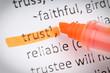 Trust underlined with orange highlighter.