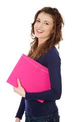 Happy teen student girl