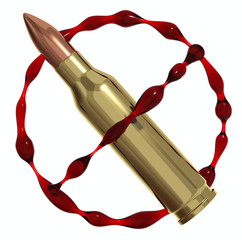 Антивоенный символ из пули и крови. 3d