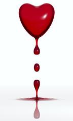 Сердце истекающее кровью на белом фоне. 3D