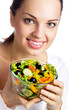 Portrait of happy smiling woman with vegetarian vegetable