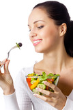Portrait of woman with vegetarian vegetable salad, on white