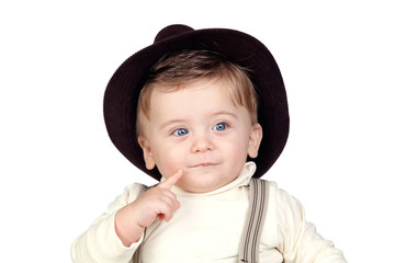 Beautiful blond baby with hat
