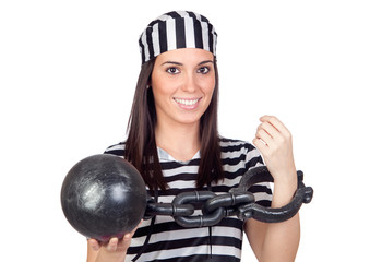 Beautiful prisoner with inmate ball