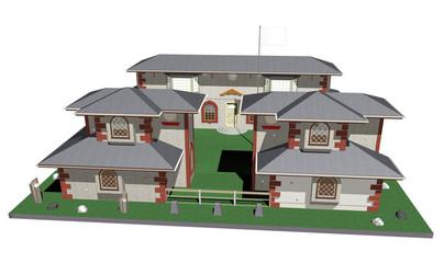 Fortino o Monastero-Costruzione-Blockhouse or Cloister-3D