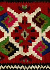 Handwoven kilim pattern, close up view