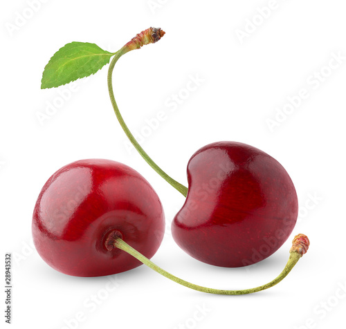 Isolated cherries. Two sweet cherry fruits isolated on white background © Anna Kucherova