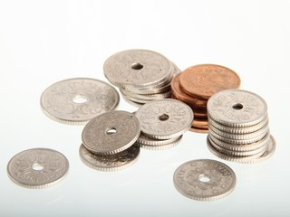 Coins on reflective surface, Danish currency