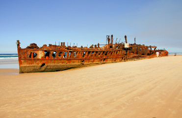 Shipwreck on the coast of Fraser Island, Queensland, Australia