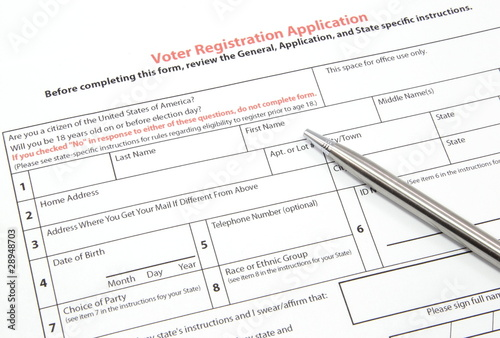 Voter Registration Application with Silver Pen