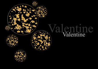 The Valentine's day. Abstract background with gold hearts. Vecto