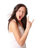 woman listen music on headphones