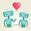 robots in love, vector illustration