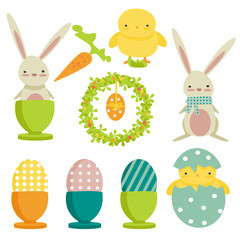 collection of easter theme icons, isolated