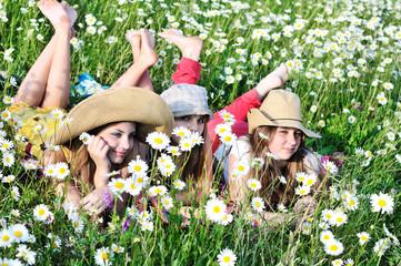 girls on meadow