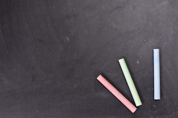 chalks and blackboard