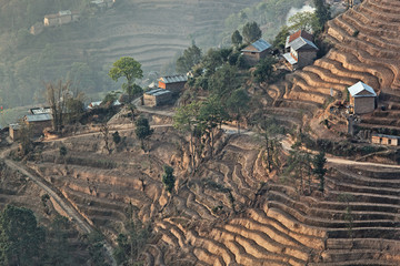 Mountain hill terrace in nagarkot nepal