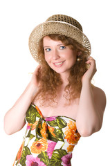 Beautiful woman in a straw hat.
