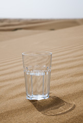 Glass of water half empty in desert