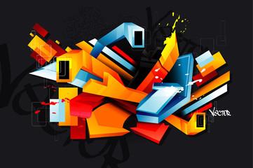 3d urban graffiti vector © chispas
