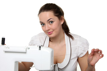 Seamstress work on the sewing-machine