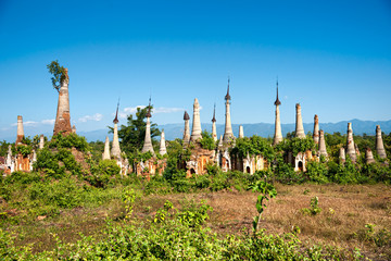 Stupas in Indein, Inle Lake, Myanmar.