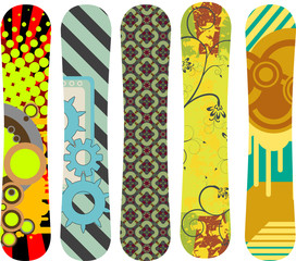 Vector pack of snowboard designs