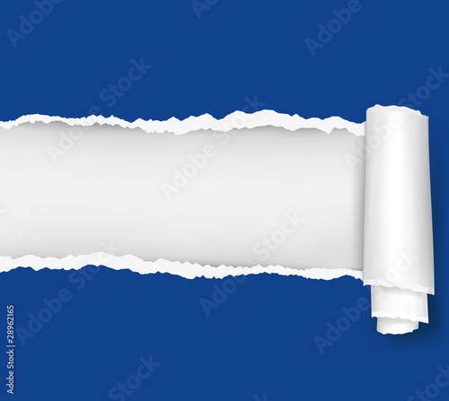 Ripped blue paper background. Vector illustration.