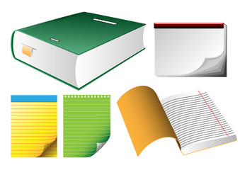vector book and copybook and notepads