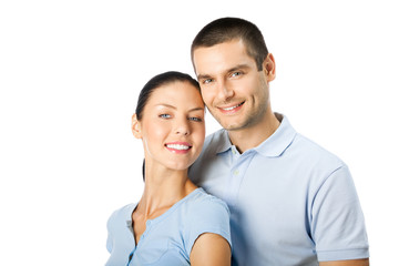 Portrait of young happy smiling attractive couple, isolated